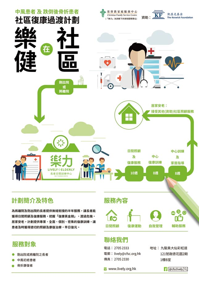 樂健在社區 — 中風患者及跌倒後骨折患者 社區復康過渡計劃   Fit Solution - Community Transitional Day Rehabilitation Programme for Elders with Cerebrovascular Disease (CVA / stroke) and Fall Related Fracture